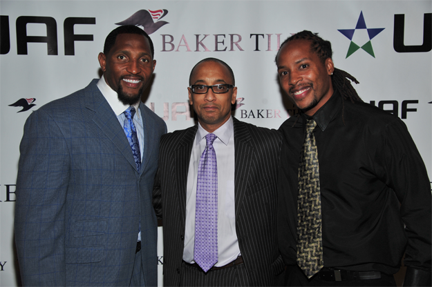 Ray Lewis, UAF Vice Chairman, Carlos Guice of Baker Tilly's affordable housing and community development team, and UAF co-founder and President, Reggie Howard kick off the reception announcing their strategic partnership at the Reginald F. Lewis Museum in Baltimore, MD.