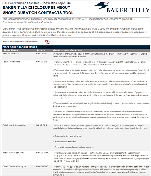 short duration insurance contracts sample disclosures template
